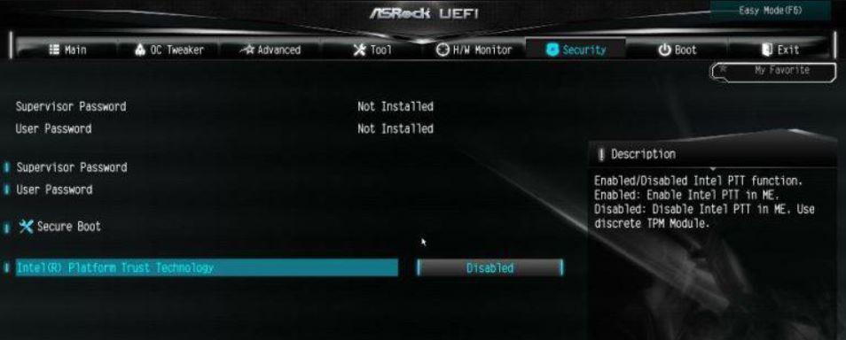 ASRock TPM enable intel min